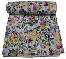 Indian Handmade Queen Cotton Kantha Quilt Throw Blanket Bedspread Floral Print