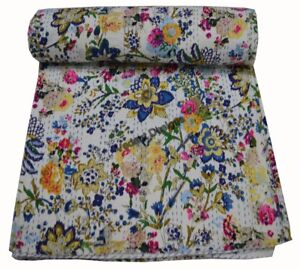 Indian Handmade Twin Cotton Kantha Quilt Throw Blanket Bedspread Floral Print