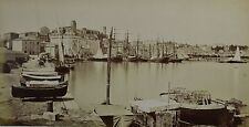 c1880 2x Large Format Albumen Photograph France Cannes Port Ships French Riviera