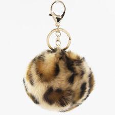 1PC 10cm Leopard Faux Fur Pom pom Ball Keychain Ring Hand Bag Charm