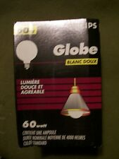 PHILIPS GLOBE 60 WATT DECORATIVE  LARGE WHITE BULB