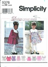 S 9376 sewing pattern DRESS Collar Sleeve Variations sew Cute sizes 5,6,6x UNCUT