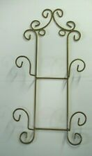 Wrought Iron (double) 2 Plate display Rack wall hanging gold tone scroll design