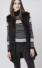 Topshop Black Faux Fur Gilet Size 4 6 8
