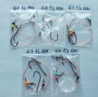 5 x sea fishing rigs 3/0-2/0 pennel rigs good for cod bass etc baitholder hooks