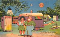 Comic Humor Ray Walters Travel Trailer Outhouse Postcard linen Teich 8167