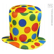 MULTICOLORE TOP HAT CLOWN CIRCO HALLOWEEN FANCY DRESS ACCESSORIO