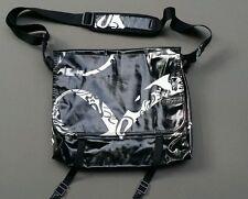 BURTON Messenger Bag Synthetic Vinyl Black White Book Laptop Purse