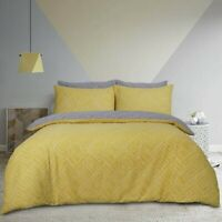 Duvet Cover Set  Double Size Cotton Geometric Dots Yellow Grey Bedset Reversible