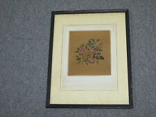 "Vintage Micro Petite Point Tapestry Needlepoint Framed 11"" x 14"" - 6"" x 6-1/2"""