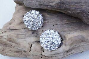 Kenneth Jay Lane Disco Ball Clip sparkling rhodium and Rhinestone Earrings