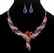 GOLD TONE CLEAR & MULTI-COLOUR RHINESTONE CRYSTAL NECKLACE EARRINGS SET