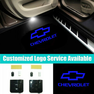 2x LED Car Door Blue CHEVROLET Lights Projector Welcome Lights for Camaro Impala