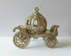 Gold Glitter Carriage Christmas Decoration. Princess Carriage Tree Decoration