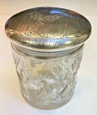 Large Art Deco antique Cut crystal engraved Silver repousse top vanity jar