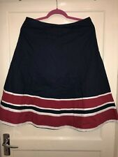 East John Lewis Navy Cream And Red Medium Length Flare Skirt Pure Cotton Size 14
