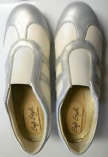 """Soft Style A Hush Puppy Company 2"""" Wedge 2 Toned White Silver Women's Shoes"""