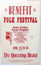 1966 Benefit Folk Festival Concert Poster, Berkeley, California.  Rare!