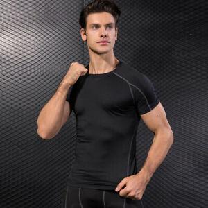 Sport T-Shirt Herren Laufshirt Fitness Kompression Funktion Training kurzarm