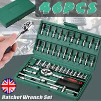"46Pc Metric Socket Set 1/4"" Wrench Torx Ratchet Driver Screwdriver Repair Tool"
