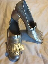 NEW KENNETH COLE REACTION Women's Michelle Block Heel Gold Size 9.5