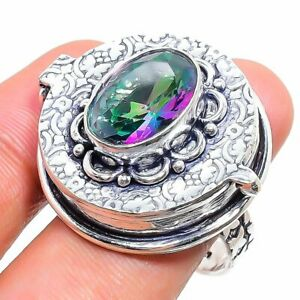 Mystic Topaz Gemstone 925 Sterling Silver Jewelry Poison Ring Size 9 P861
