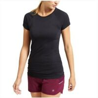 Athleta Finish Fast Tee Black Short Sleeve Top Stretch Ruched Athletic Sz Small