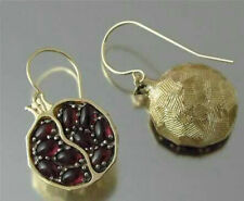 Gold Filled Pomegranate Ruby Polished Earring Dangle Hook Jewelry Wedding Party