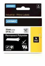 Dymo Rhino Industrial Labels Permanent Polyester 19mm x 5.5m - Black on Clear