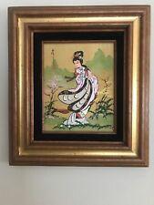 Original Japanese Painting Geisha Girl on Canvas Signed & Framed