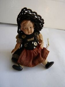Vintage Miniature Celluloid Dolls House Doll with Hat