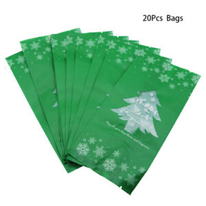 20pcs Snowflake Christmas Tree Gift Bags Merry Christmas Baking Packaging  XE