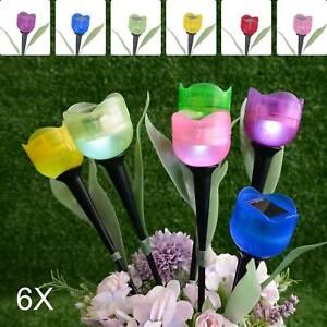 6 Garden Lighting Tulip Shape LED Solar Garden Outdoor Standing Garden lights