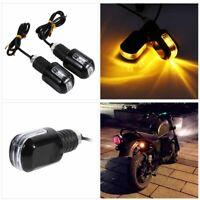 2x  Motorrad LED Lenkerenden Blinker Harley Chopper Custom CafeRacer Schwarz DE