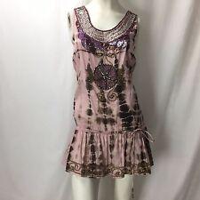 TAJ by Sabrina Crippa Anthropologie Boho Beaded Pink & Brown Tie Dye Blouse Sz S