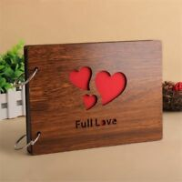 Wood Cover 30 Sheets Full Love Heart Wedding Self-Adhesive Photo Album 8 Inch
