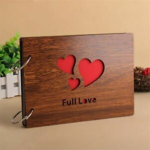 Wood Cover 30 Sheets Full Love Heart Wedding Photo Album 8 Inch