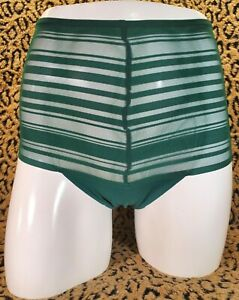 Victoria's Secret Dark Green High Waist Striped Thong String Panty S/P NWT Sexy
