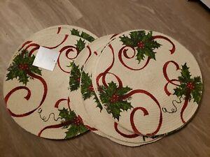 "Fraiche Maison 15"" Christmas Holly Placemats Cotton set of 4"