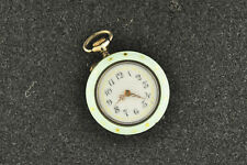 VINTAGE 29.4MM .935 SILVER ENAMLED POCKET WATCH WITH FANCY DIAL RUNNING