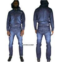 Time is Money jumpsuit, denim overalls urban jeans straight fit mens indigo hip