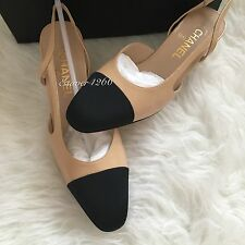 NIB CHANEL Two-Tone Beige Black Leather Slingbacks Shoes Pump size 38