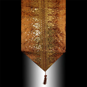 RARE LUXURY SHINY CHOCOLATE GOLD SEQUINS DECORATIVE TASSEL TABLE RUNNER CLOTH