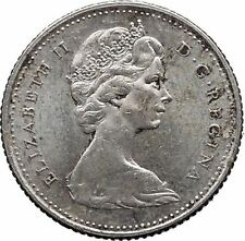 Canada 1965 Antique Silver Purity .8 10 Cents Coin with Elizabeth II SHIP i32342