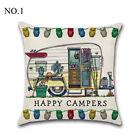"18"" Uk Happy Camper Touring Car Cushion Cover Pillow Case Square Sofa Home Decor"