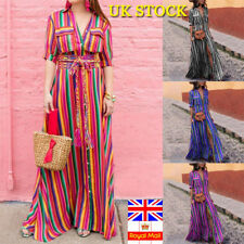 Plus Size Women Boho Summer Striped Maxi Long Dress Holiday Festival Shirt Dress