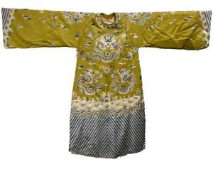 Chinese Qing Dynasty Embroidered Silk Dragon Robe / L 144[cm]