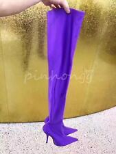 Stiefel Damen Overkneestiefel spitz high heel Absatz Größe 34-47 Lila