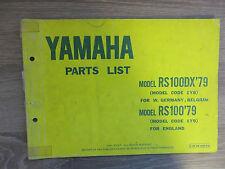 Yamaha Parts List Ersatzteilkatalog RS100DX 1Y8 ´79 RS100  Explosionszeichnungen