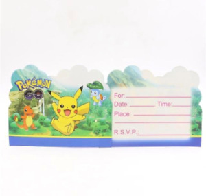 POKEMON GO PIKACHU BIRTHDAY PARTY 10 PACK INVITATIONS